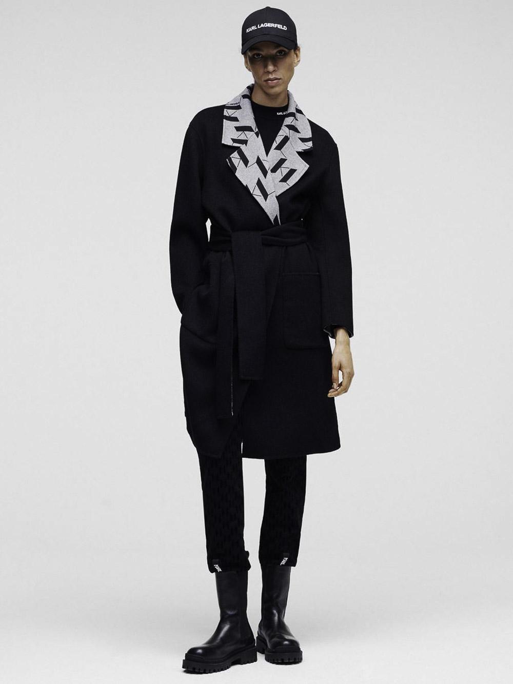 Karl Lagerfeld Παλτό μακρύ 216W1500-996 ΜΑΥΡΟ
