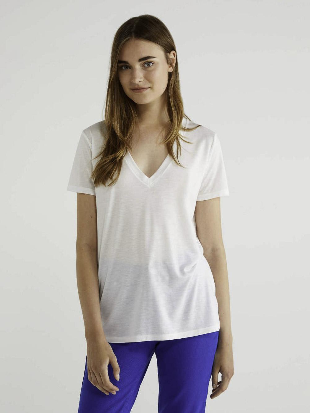 BENETTON Τ-shirt με V λαίμοκοψη 3AERE4249 20A074