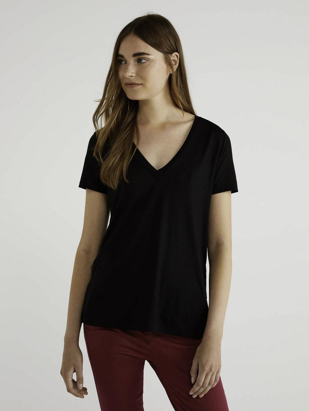 BENETTON Τ-shirt με V λαίμοκοψη 3AERE4249 20A100