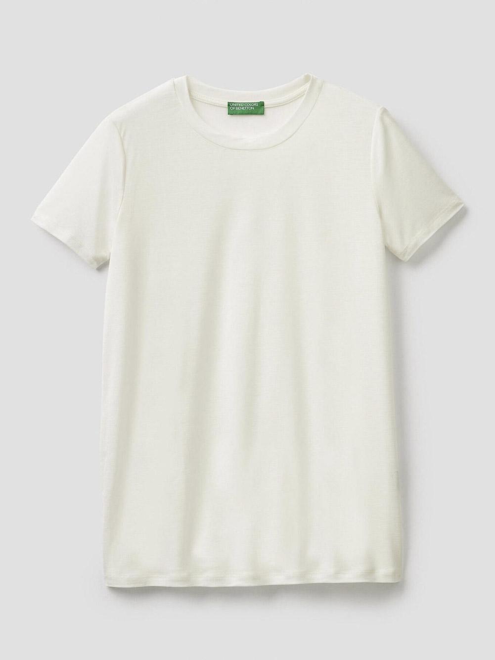BENETTON T-shirt με λαιμόκοψη 3AERE17J7 20A074