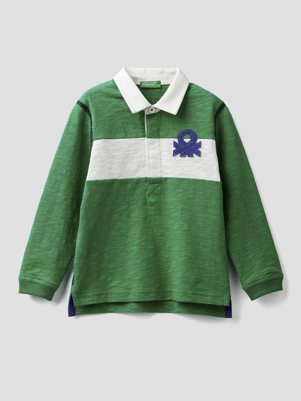 012 BENETTON Μπλούζα πόλο με φάσα κια λογότυπο 3BHJC3146 20A108