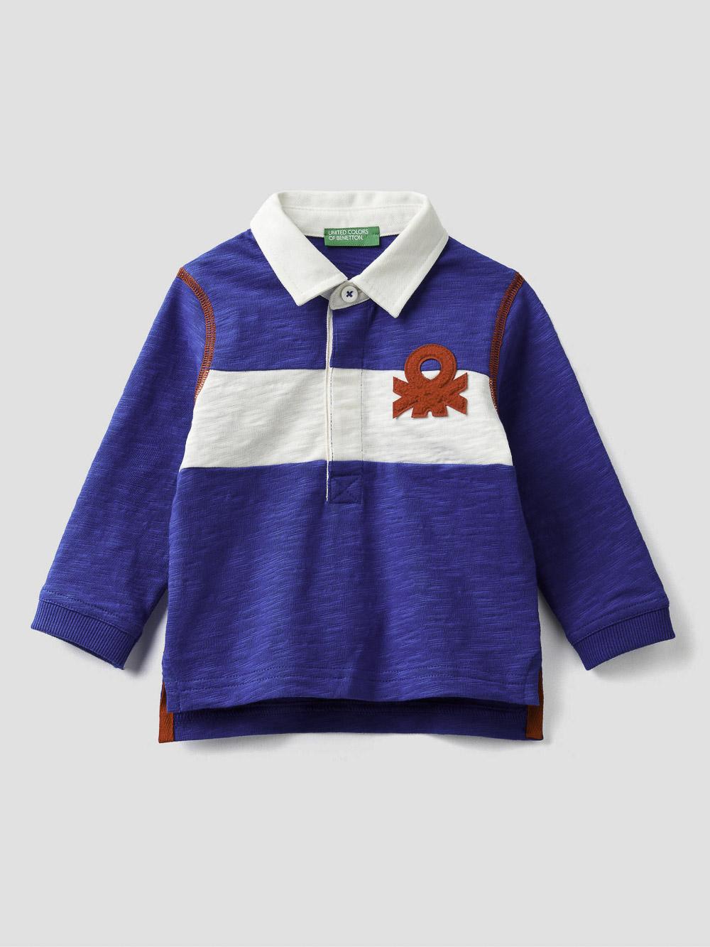 012 BENETTON Μπλούζα πόλο με φάσα κια λογότυπο 3BHJC3146 20A19R