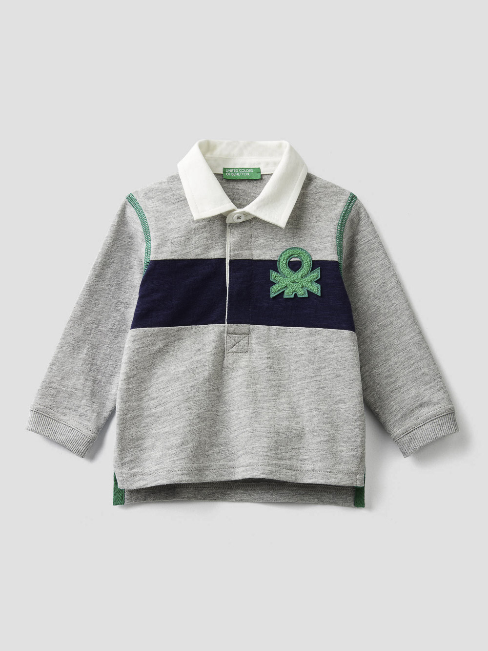 012 BENETTON Μπλούζα πόλο με φάσα κια λογότυπο 3BHJC3146 20A501