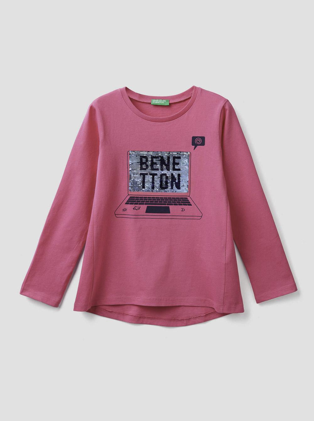 012 BENETTON T-shirt με παγέτες δύο όψεων 3096C14Q7 20A02A