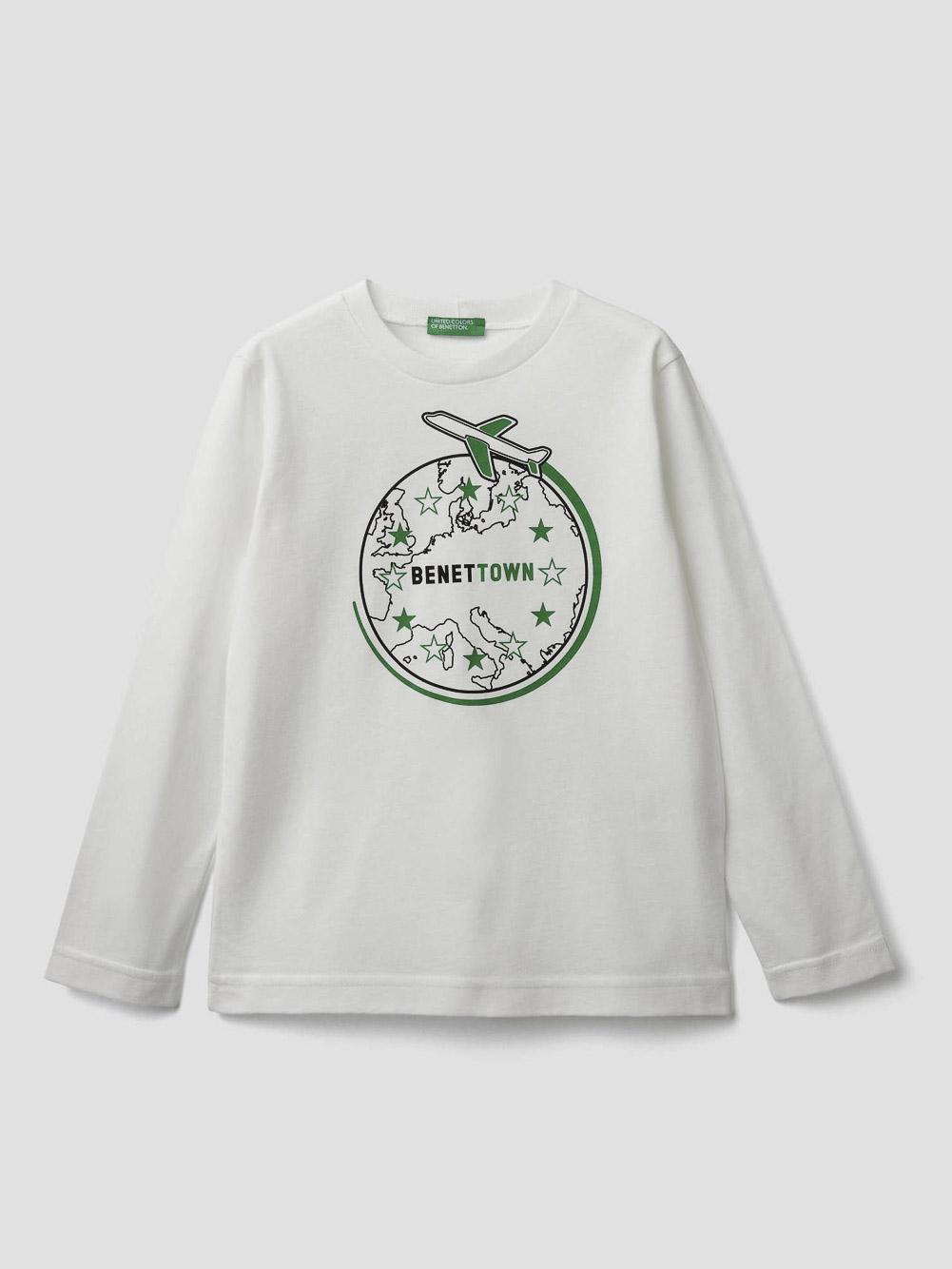012 BENETTON T-shirt με λαιμόκοψη και τύπωμα 3096C14QH 20A074