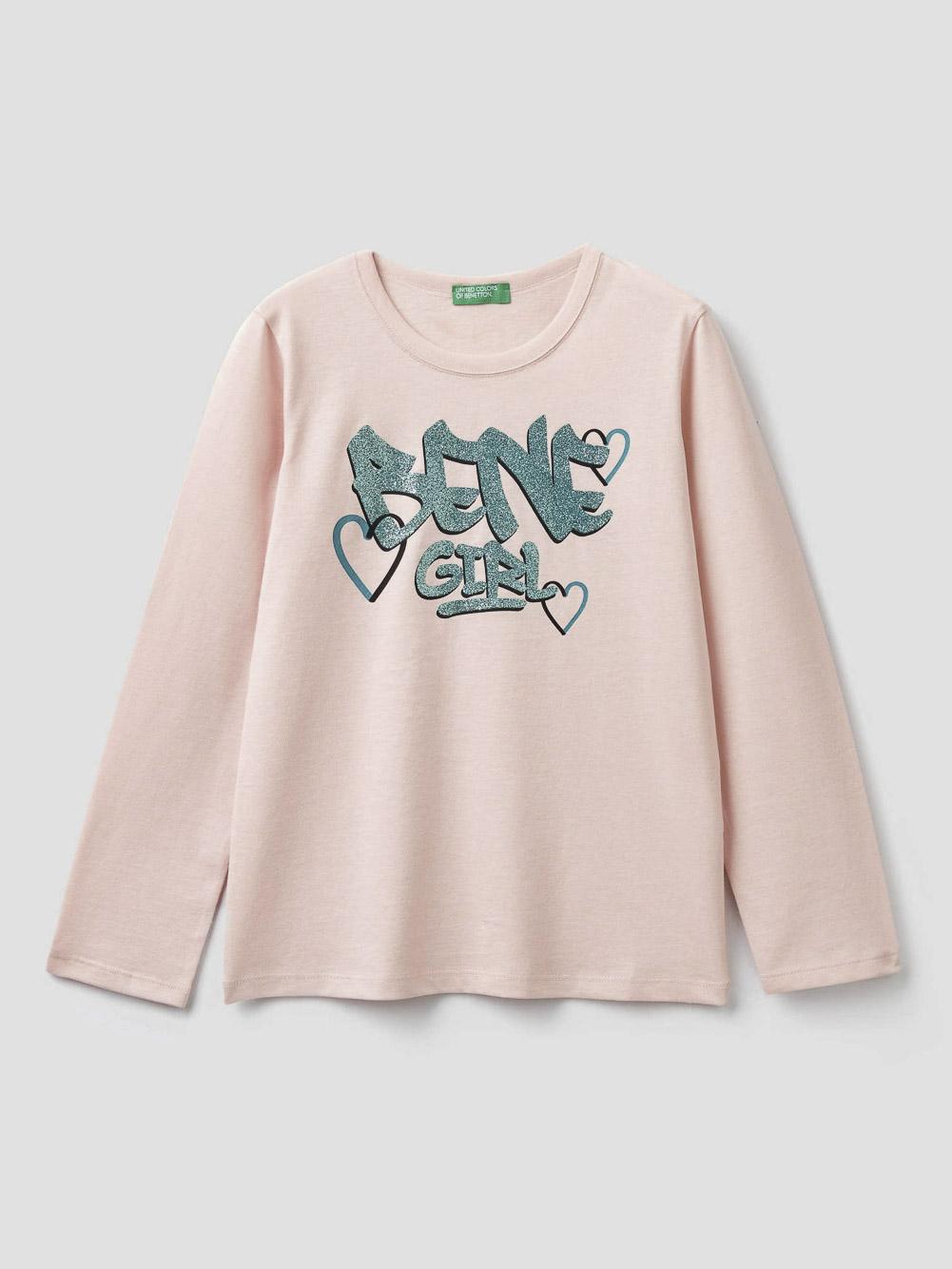 012 BENETTON T-shirt με τύπωμα και glitter 3096C14QS 20A04U