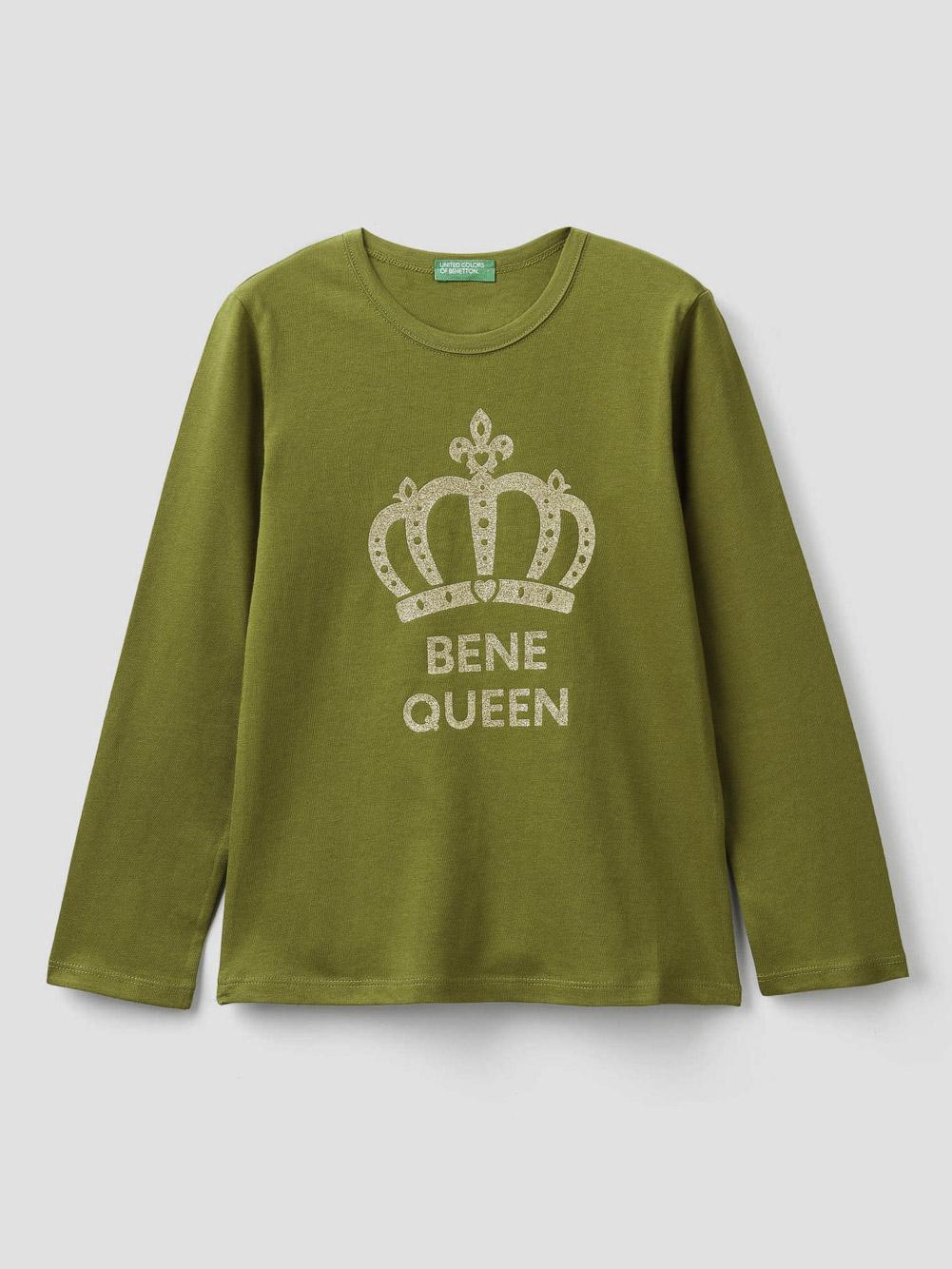 012 BENETTON T-shirt με τύπωμα και glitter 3096C14QS 20A1H4