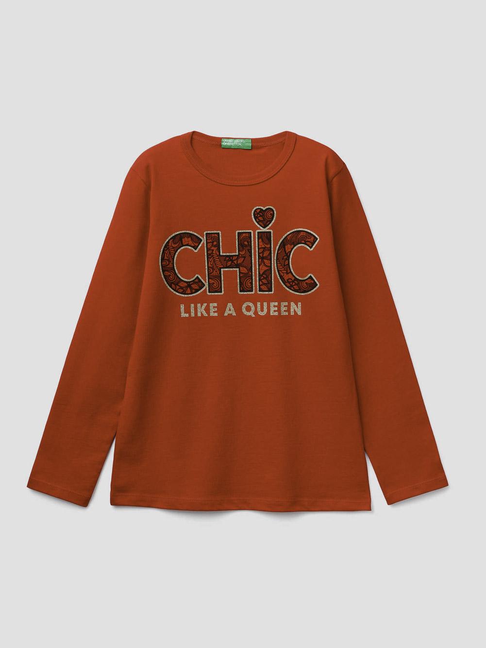 012 BENETTON T-shirt με glitter τύπωμα 3096C14SN 20A015