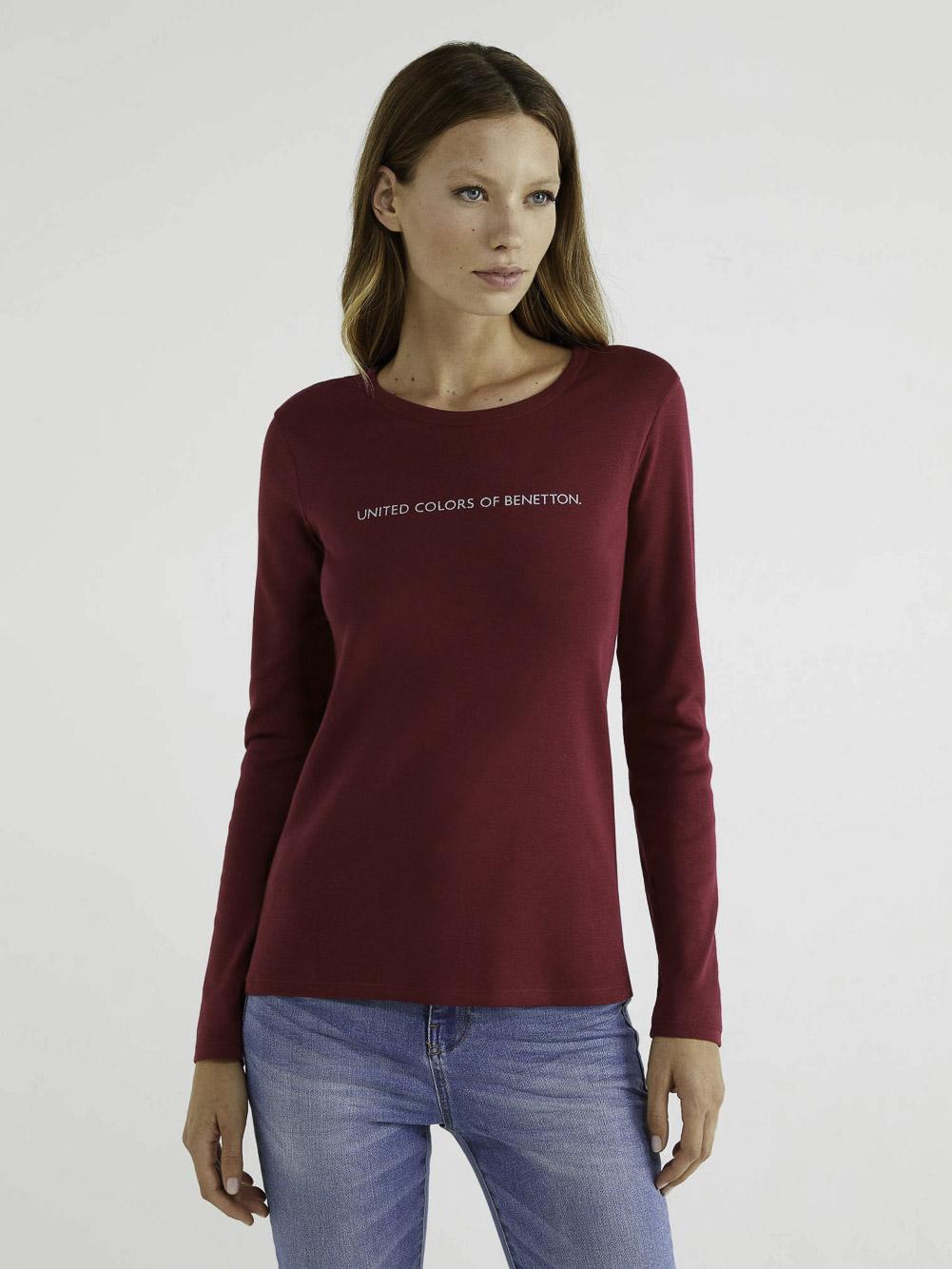 BENETTON T-shirt μακρυμάνικο με λογότυπο 3GA2E16G0 20A08M