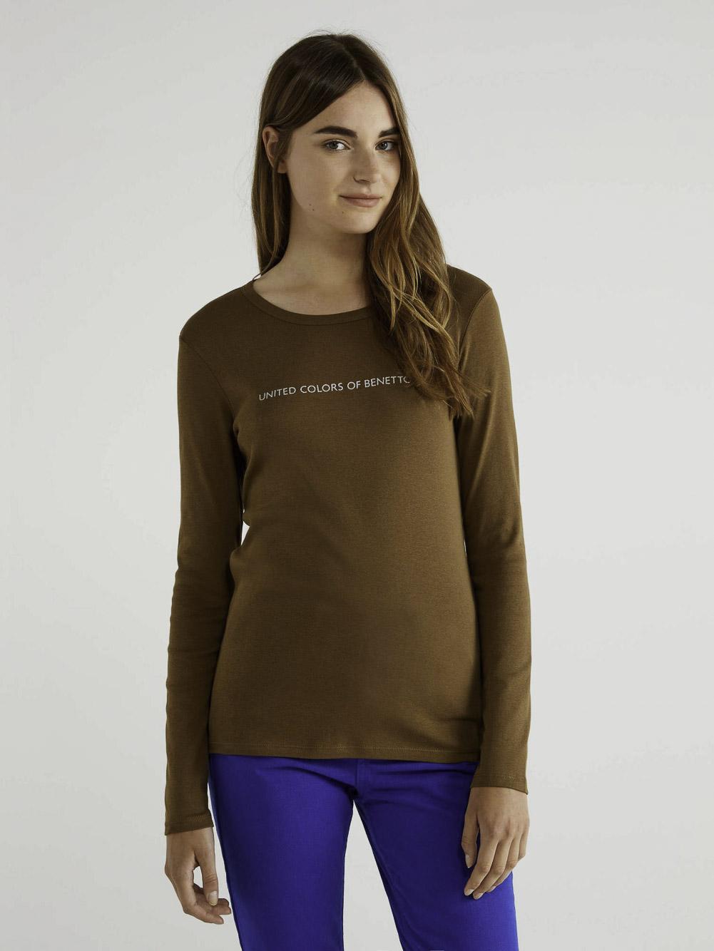 BENETTON T-shirt μακρυμάνικο με λογότυπο 3GA2E16G0 20A0B1