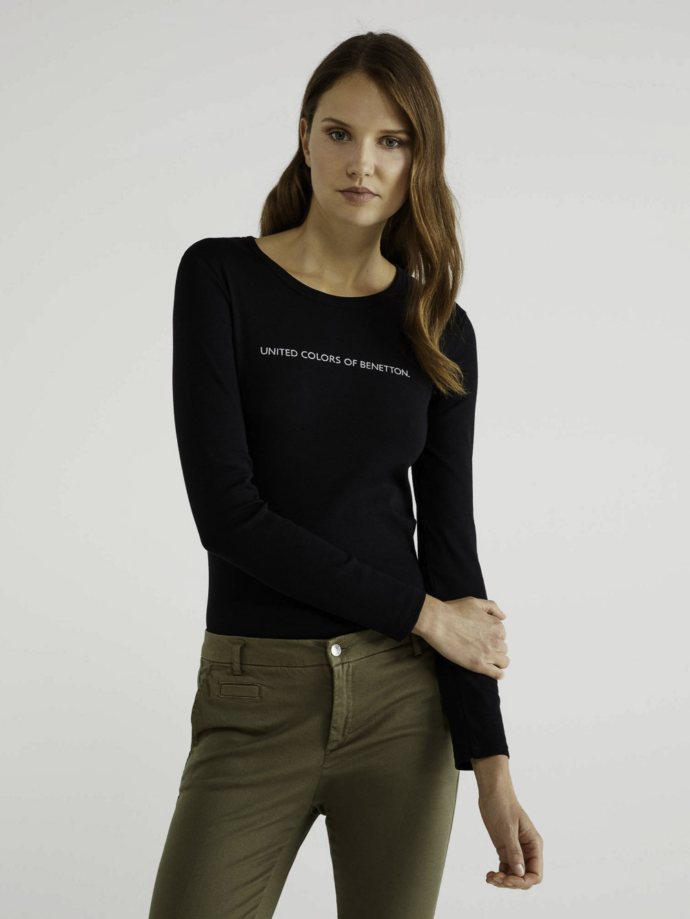 BENETTON T-shirt μακρυμάνικο με λογότυπο 3GA2E16G0 20A100