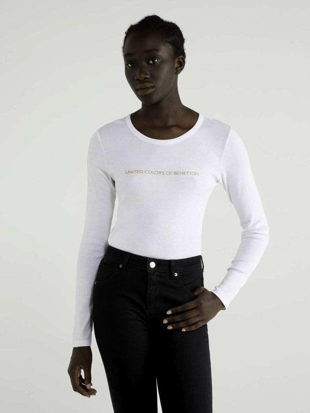 BENETTON T-shirt μακρυμάνικο με λογότυπο 3GA2E16G0 20A101