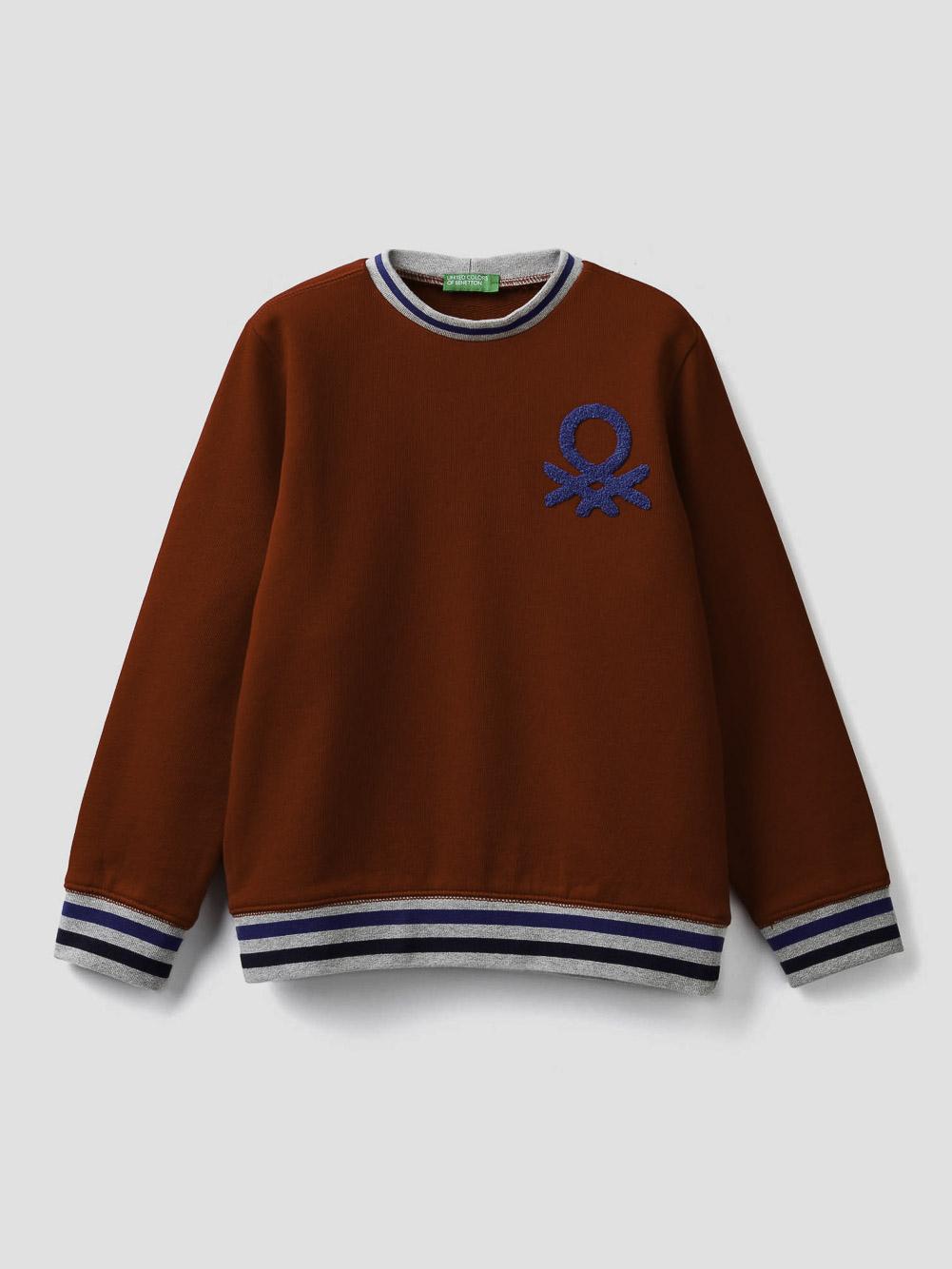 012 BENETTON Μπλούζα φούτερ μα λαιμόκοψη και κεντητό λογότυπο 3J68C14YI 20A015