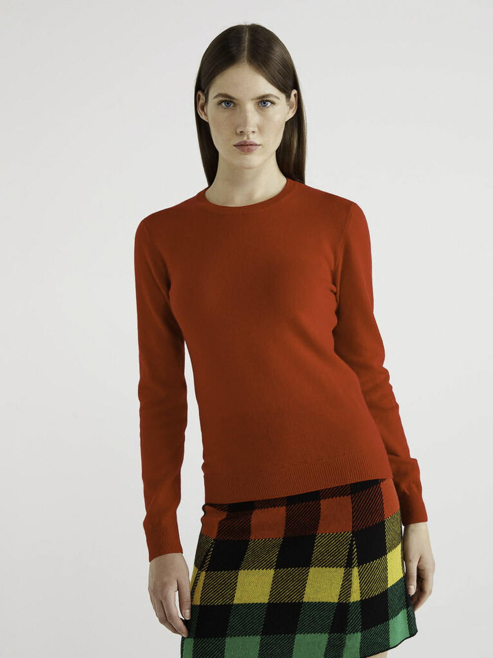 BENETTON Μπλούζα με λαιμόκοψη 100% παρθένο μαλλί 1002D1K01 20A015