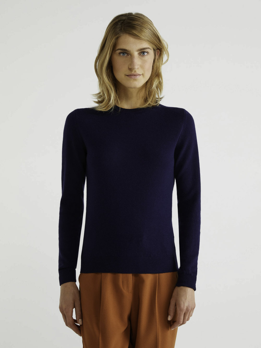 BENETTON Μπλούζα με λαιμόκοψη 100% παρθένο μαλλί 1002D1K01 20A016