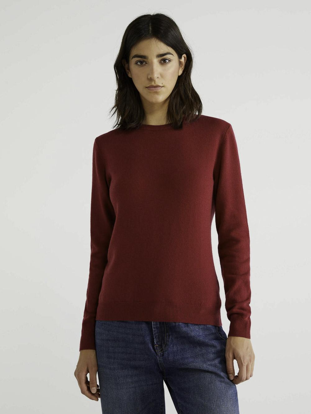 BENETTON Μπλούζα με λαιμόκοψη 100% παρθένο μαλλί 1002D1K01 20A08M
