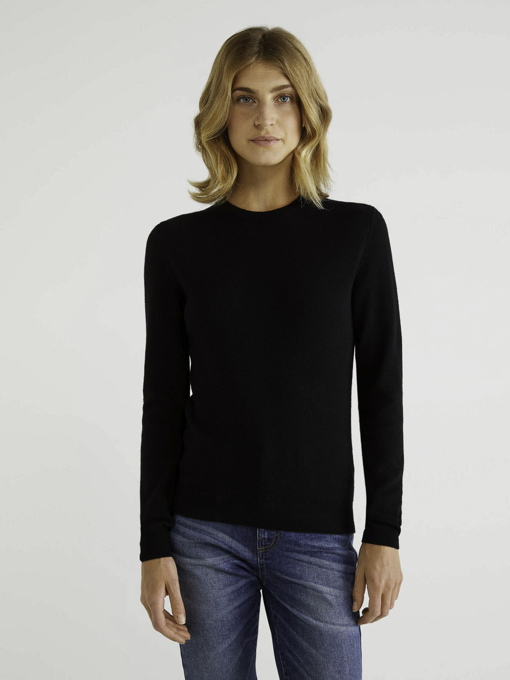 BENETTON Μπλούζα με λαιμόκοψη 100% παρθένο μαλλί 1002D1K01 20A100