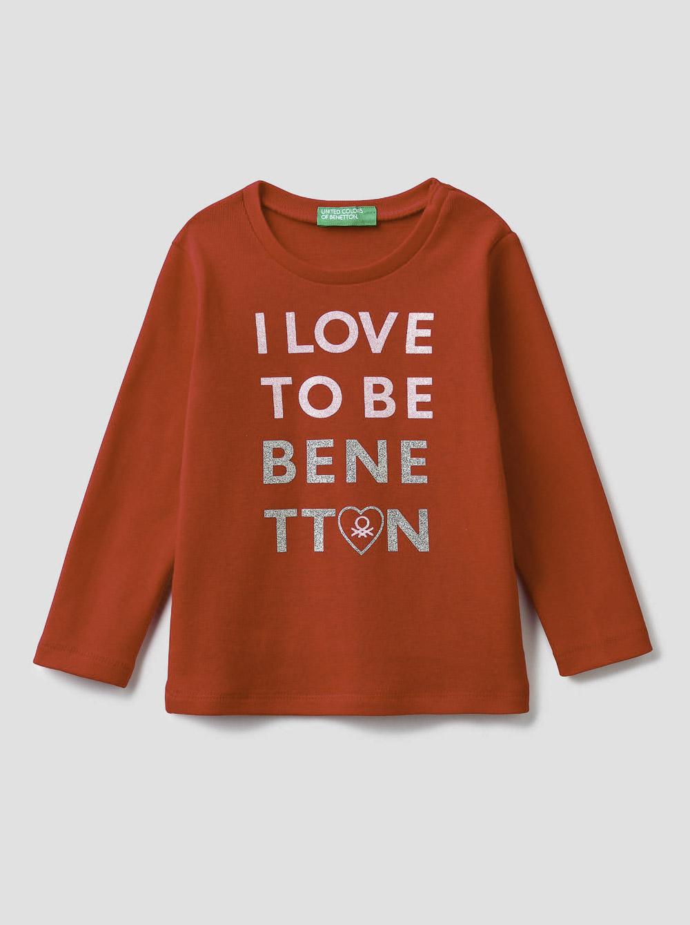 012 BENETTON T-shirt μακρυμάνικο με λογότυπο 3I9WC14QX 20A005