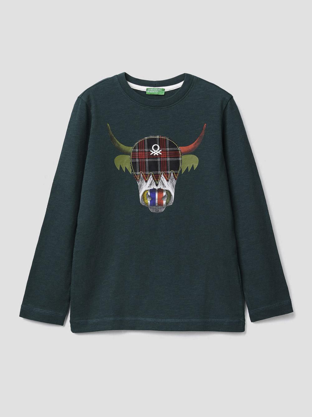 012 BENETTON T-shirt με τύπωμα 3F93C14SX 20A070