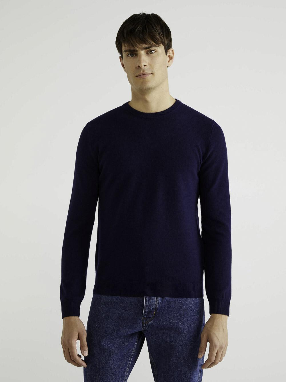 BENETTON Μπλούζα με λαιμόκοψη 100% παρθένο μαλλί 1002U1G34 20A016