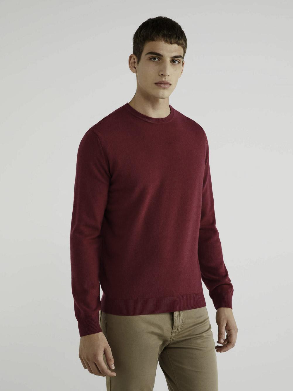 BENETTON Μπλούζα με λαιμόκοψη 100% παρθένο μαλλί 1002U1G34 20A08M