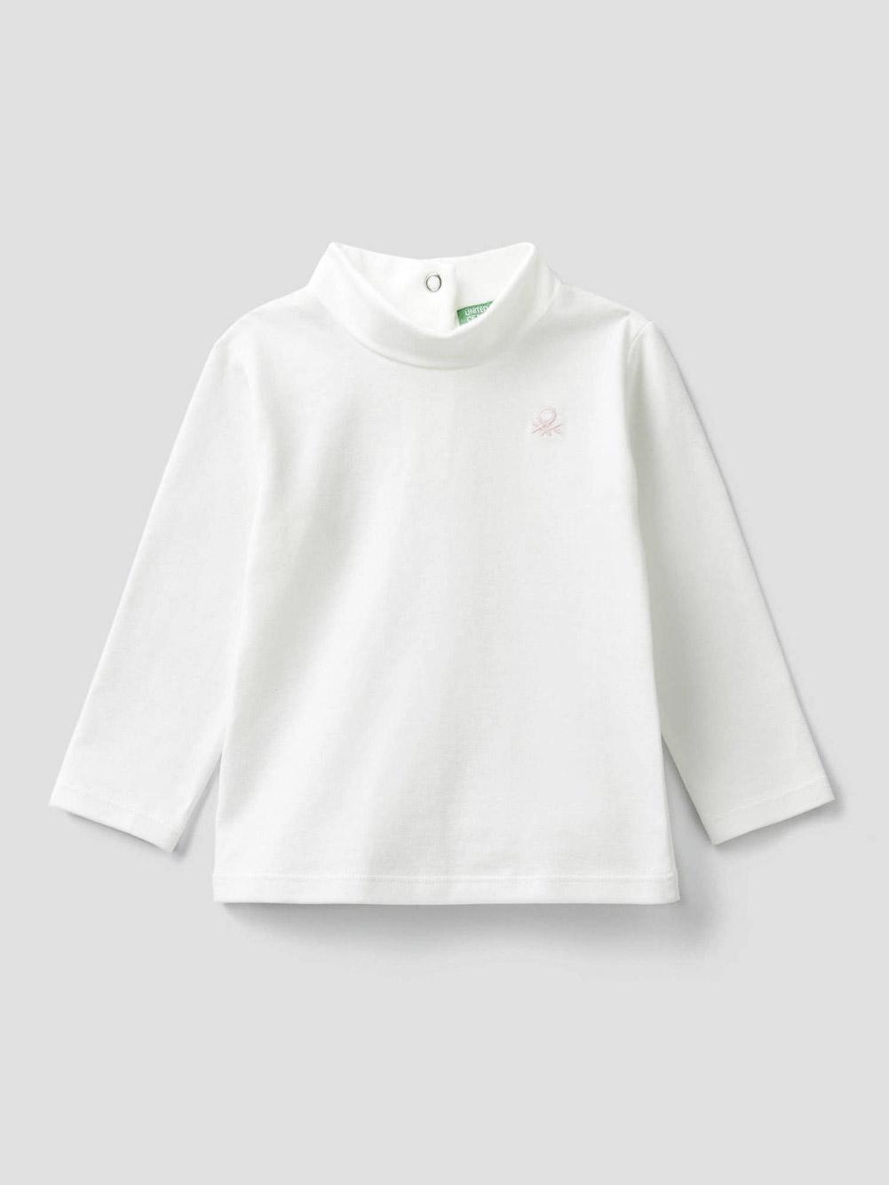 012 BENETTON T-shirt με λογότυπο και κουμπιά 3P4ZC14QV 20A074