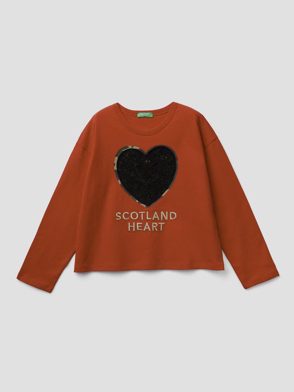012 BENETTON T-shirt με τύπωμα και κέντημα 3VR5C14SO 20A015