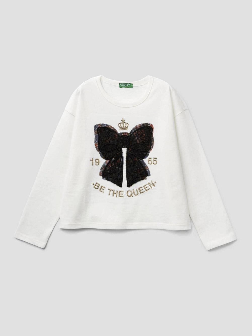 012 BENETTON T-shirt με τύπωμα και κέντημα 3VR5C14SO 20A074