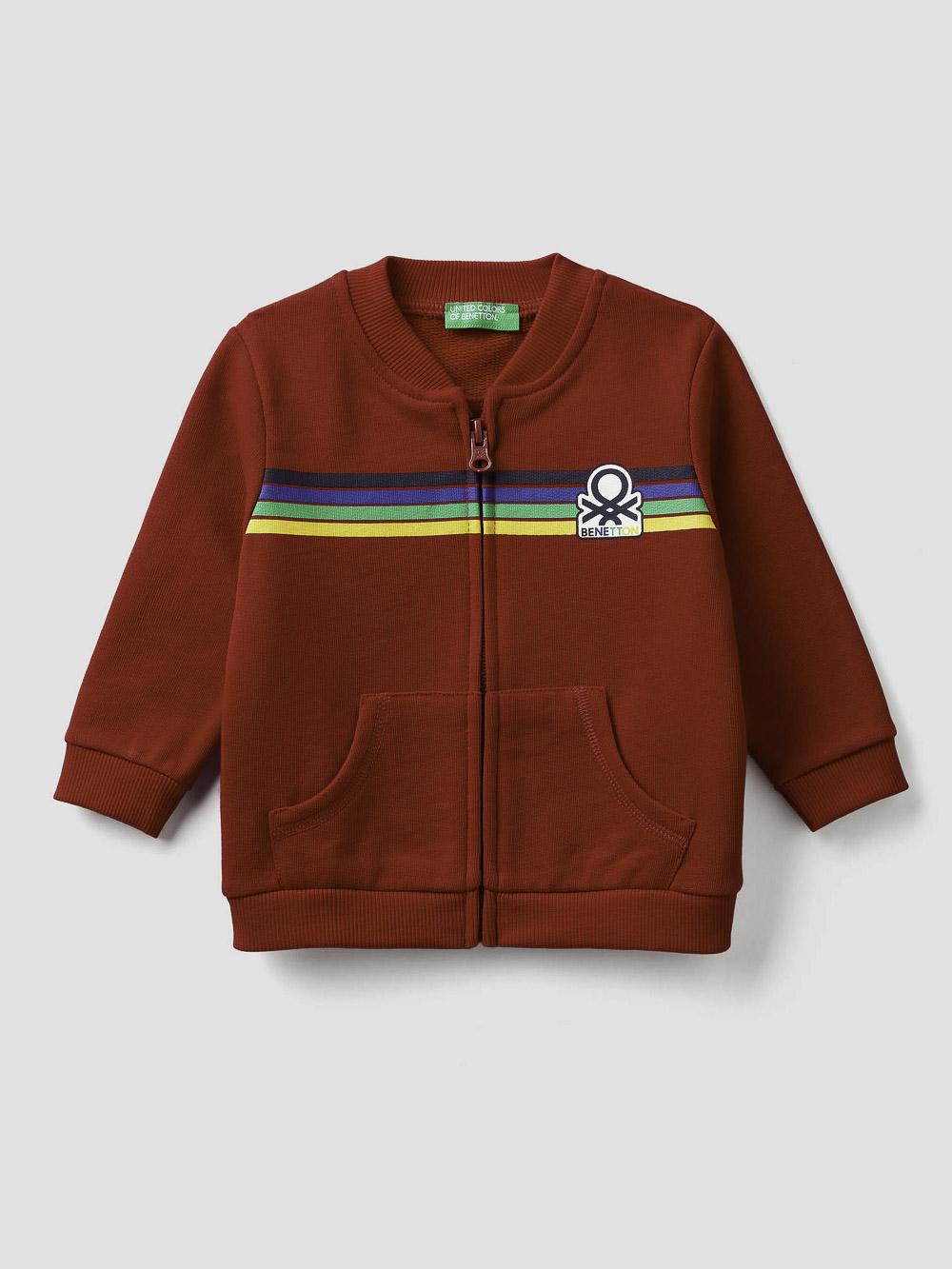 012 BENETTON Ζακέτα φούτερ με φερμουάρ και λογότυπο 3J70C5836 20A015