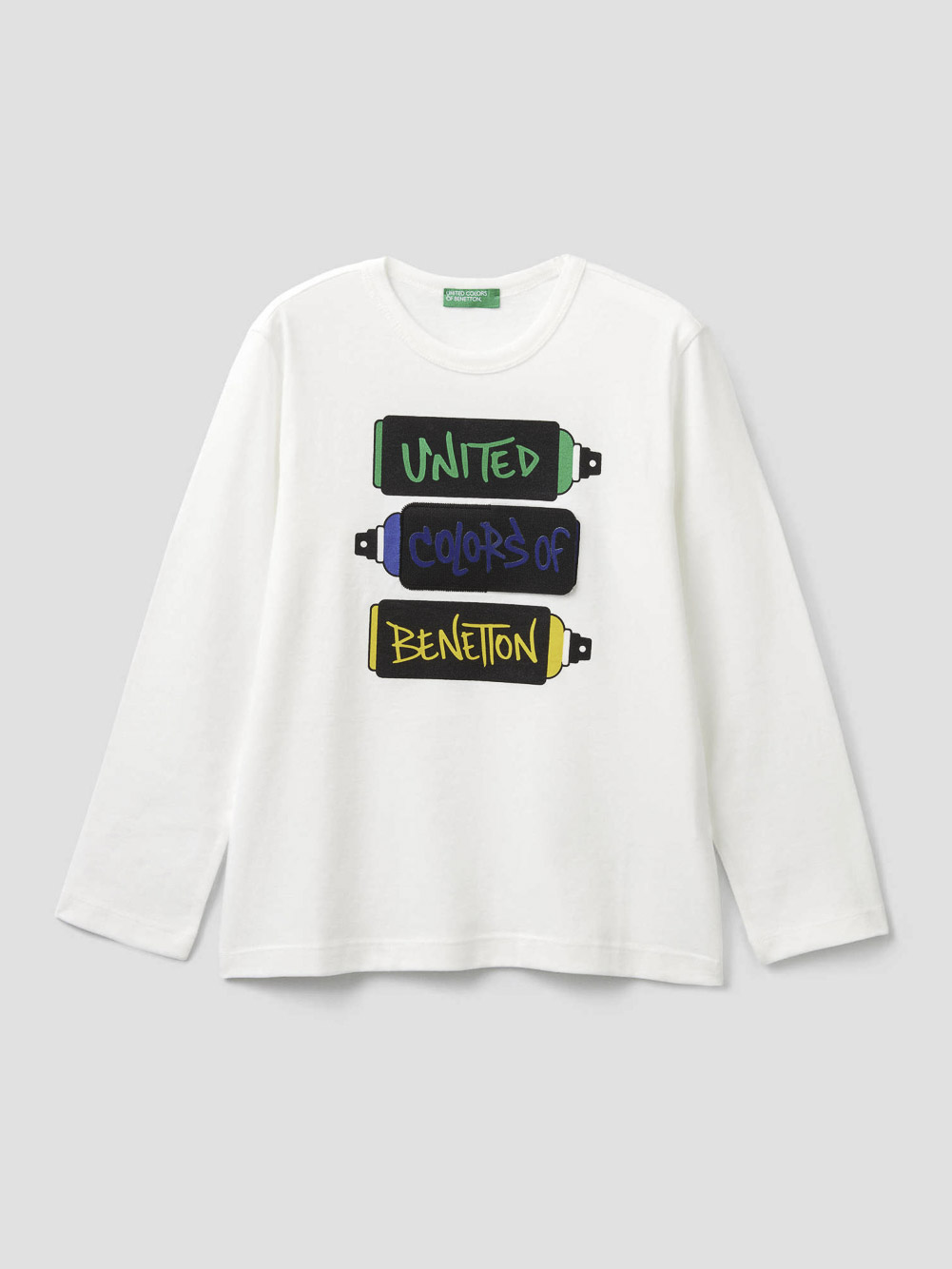 012 BENETTON T-shirt με patch και σκισίματα 3VR5C14TA 20A074