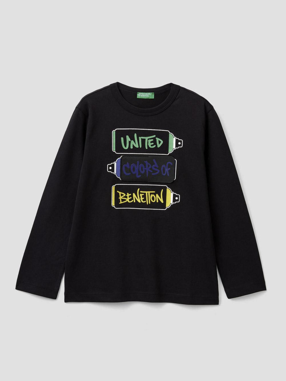 012 BENETTON T-shirt με patch και σκισίματα 3VR5C14TA 20A100