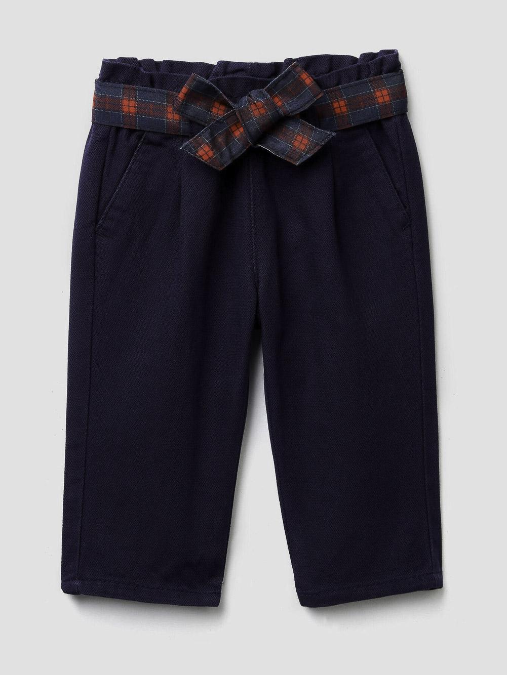 012 BENETTON Παντελόνι με ζώνη καρό από denim 4BBZ55C30 20A252