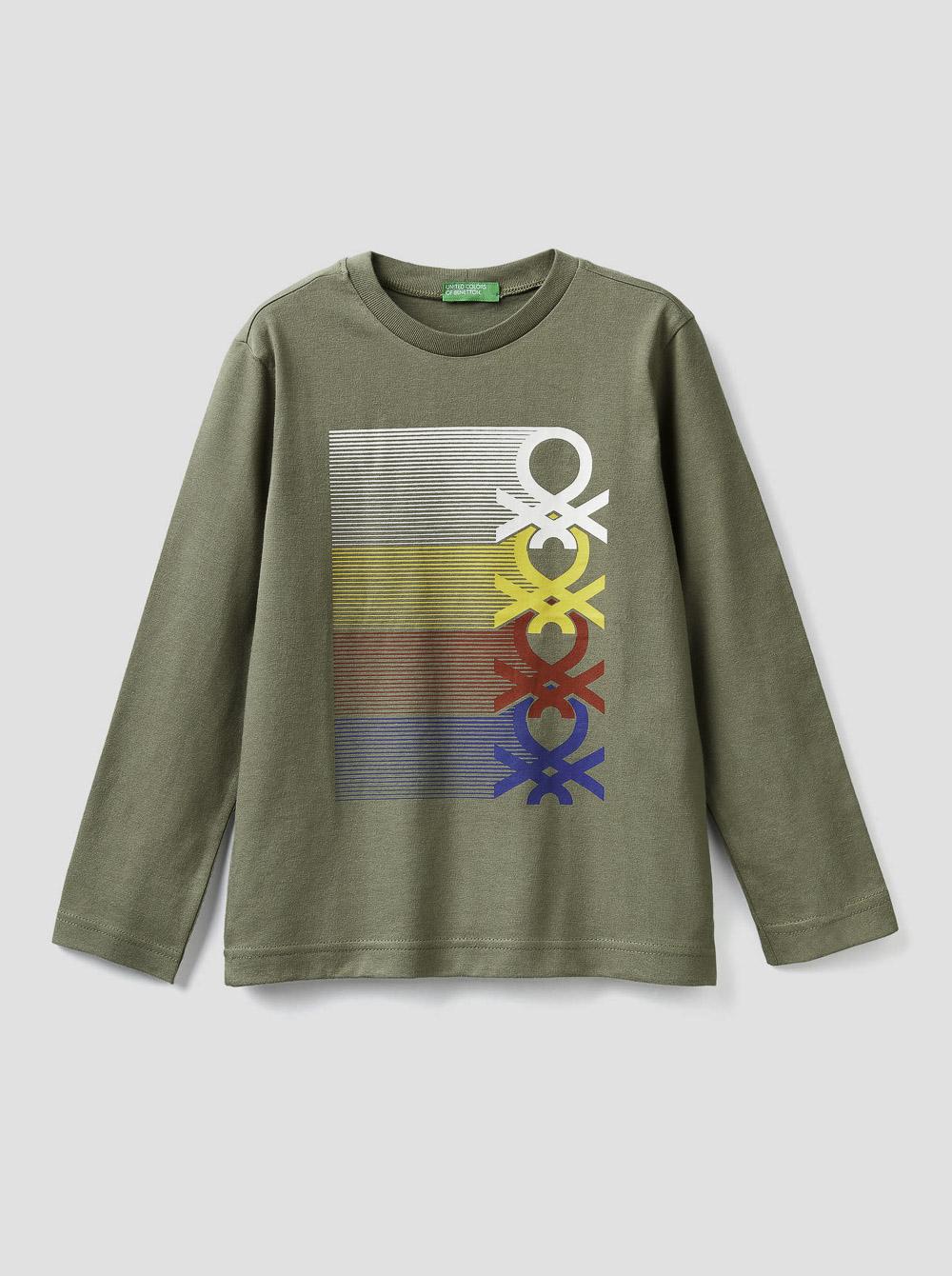 012 BENETTON Τ-shirt μακρυμάνικο με λογότυπο 3YR3C14QF 20A34F