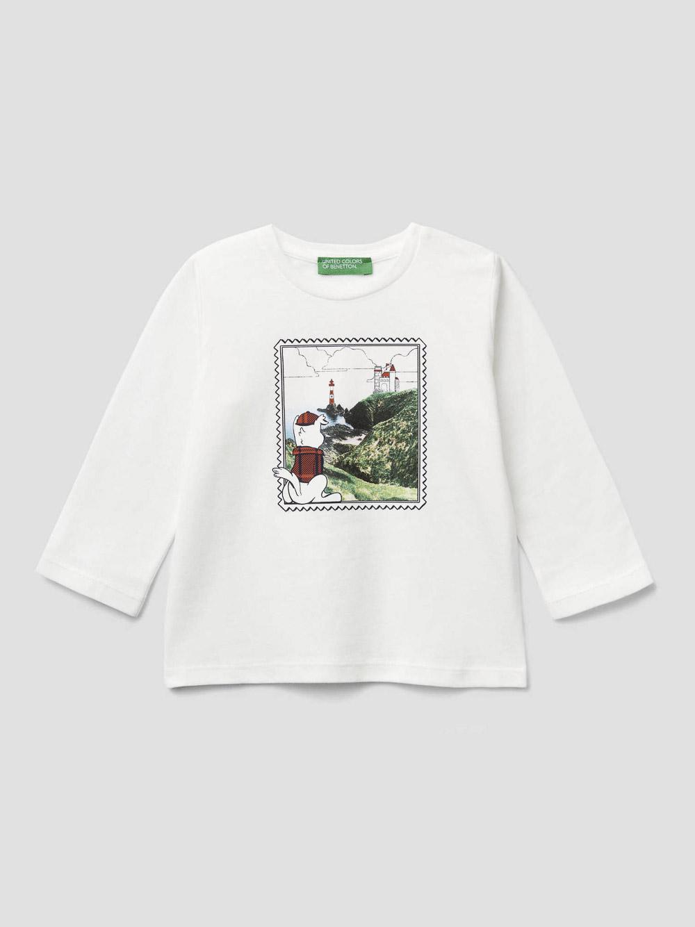 012 BENETTON T-shirt με τύπωμα καρτ ποστάλ 3VR5C14UL 20A074