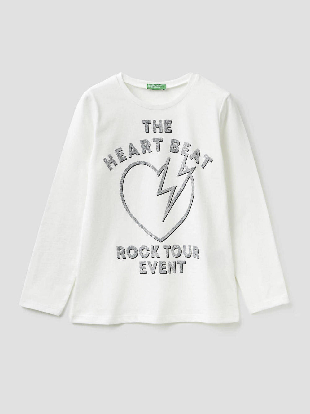 012 BENETTON T-shirt με glitter τύπωμα 3VR5C14Y4 20A074