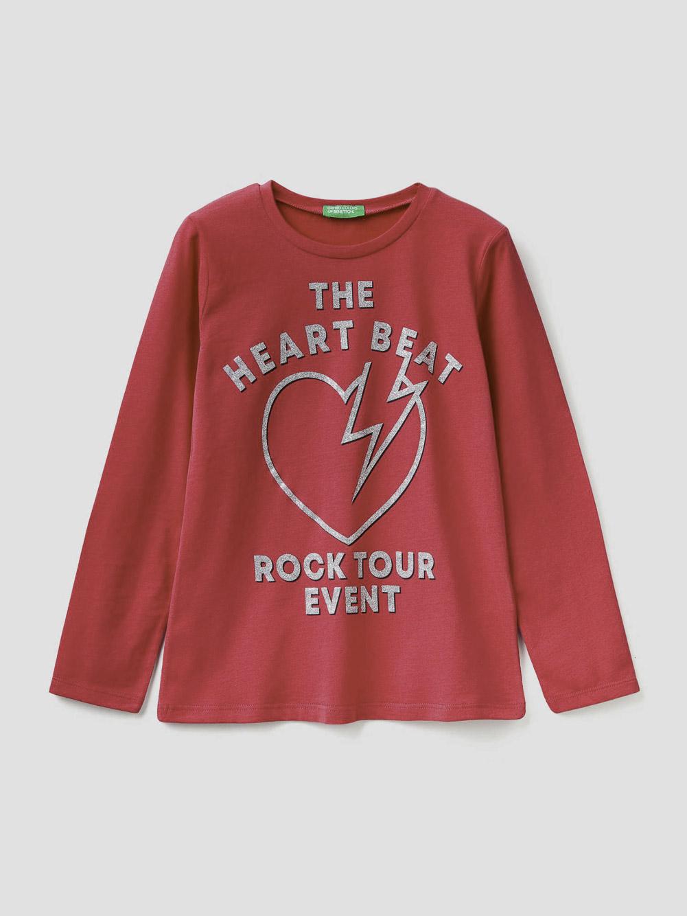 012 BENETTON T-shirt με glitter τύπωμα 3VR5C14Y4 20A143