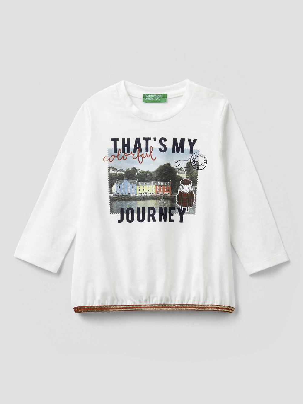 012 BENETTON T-shirt με τύπωμα καρτ ποστάλ 3VR5C14TW 20A074