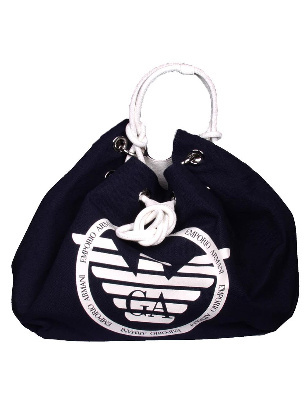 EMPORIO ARMANI Τσάντα θαλάσσης Y3E142 YFA8E ΜΠΛΕ-ΛΕΥΚΟ