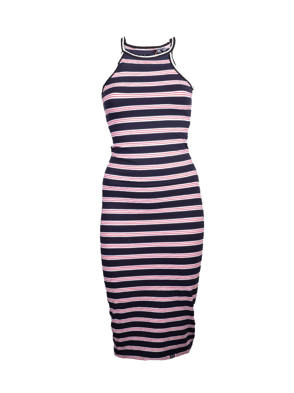 SUPERDRY Φόρεμα midi G80118MT ΡΙΓΕ ΜΠΛΕ