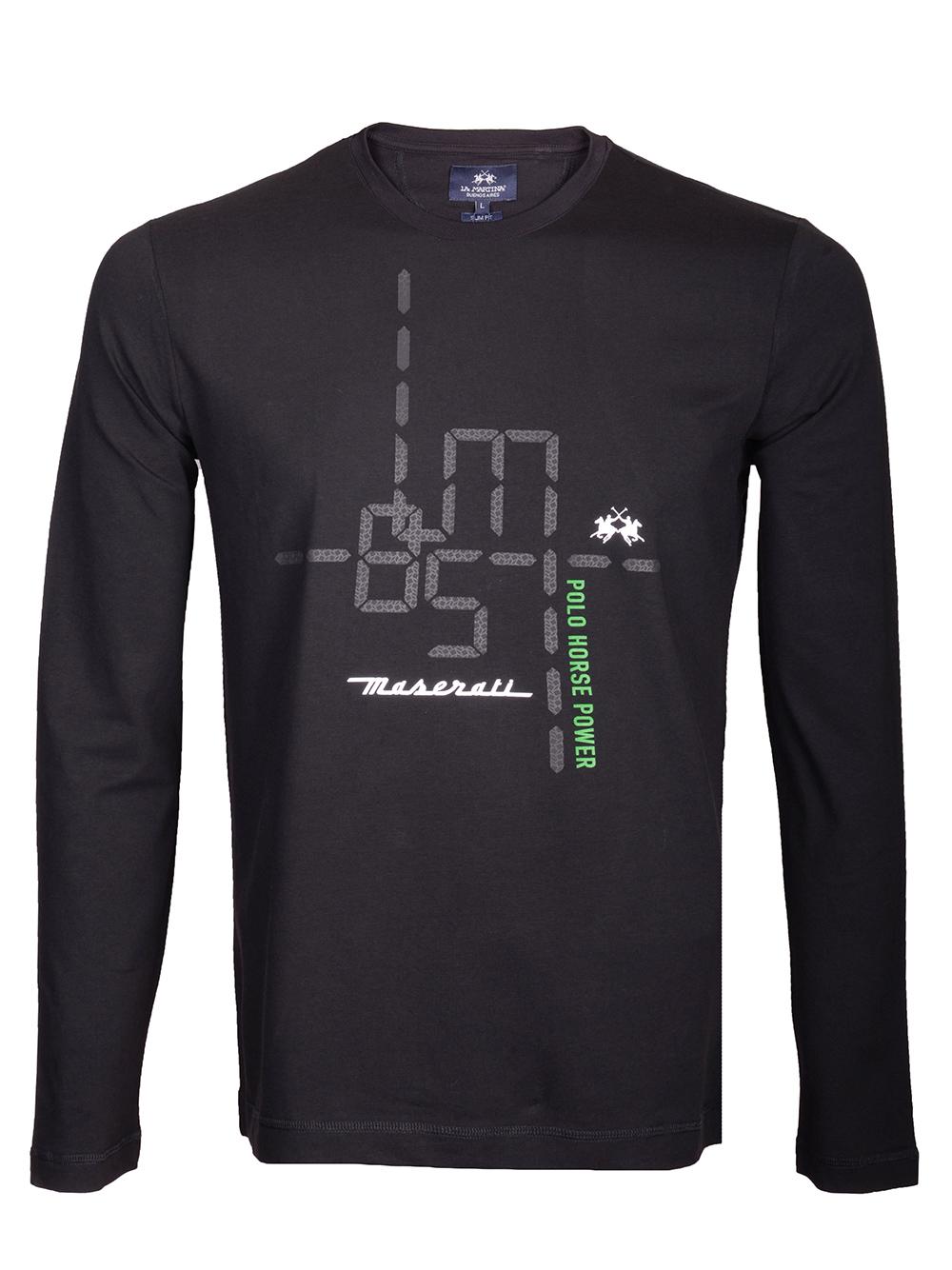 LA MARTINA Μπλούζα T-Shirt 3LM0MRM02-9999 ΜΑΥΡΟ