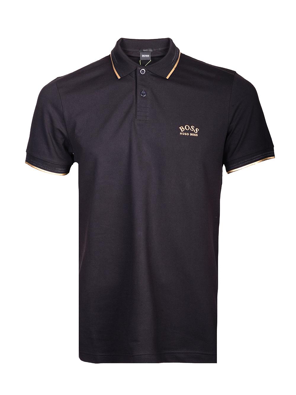 BOSS GREEN Μπλούζα Polo 50412675-001 ΜΑΥΡΟ