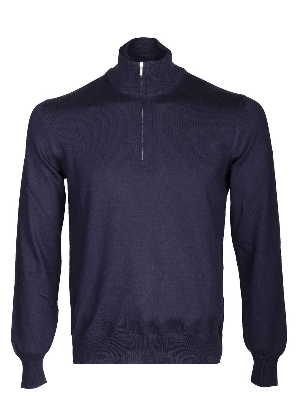 BOGGI Μπλούζα zip-neck BO19A046401-005 ΜΠΛΕ