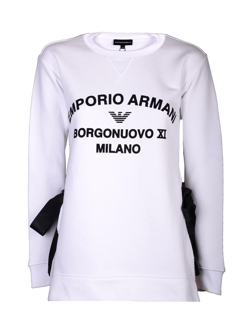 EMPORIO ARMANI Μπλούζα φούτερ 3H2M7P 2J60Z-0100 ΛΕΥΚΟ