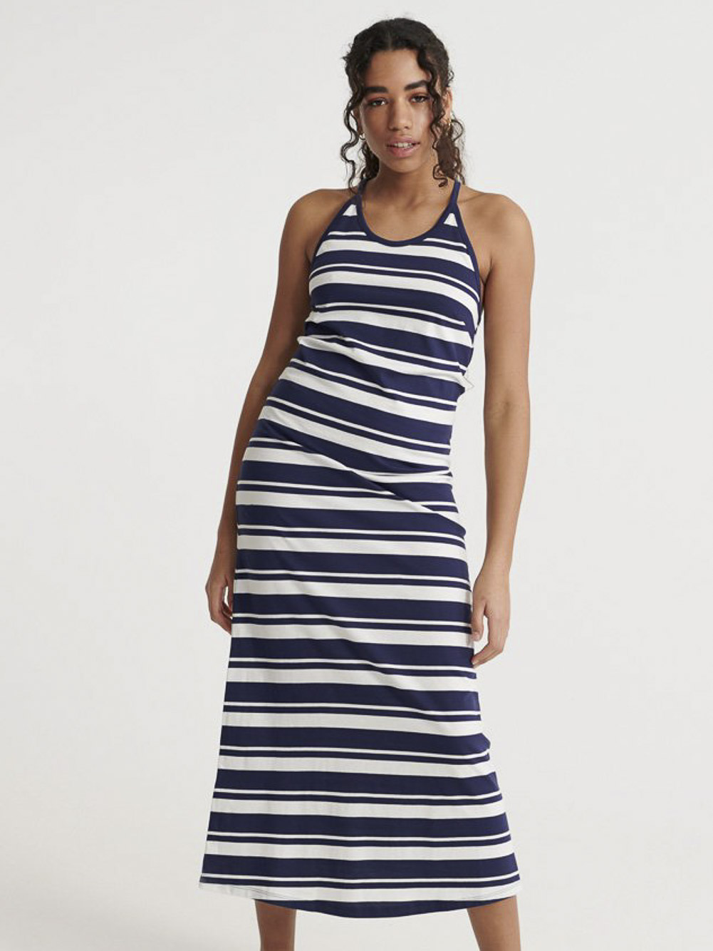 SUPERDRY Φόρεμα αμάνικο W8010132A-GKV ΡΙΓΕ ΜΠΛΕ