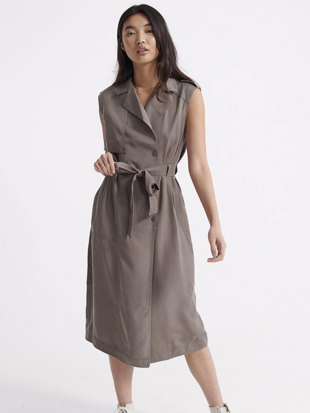 SUPERDRY Φόρεμα midi W8010101A-GS0 ΓΚΡΙ