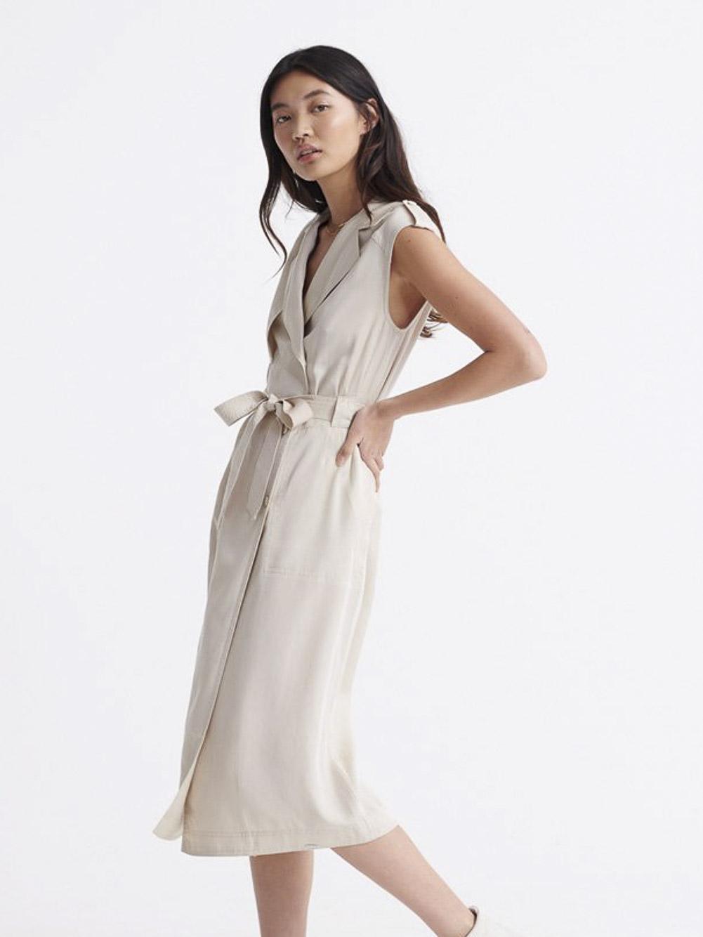 SUPERDRY Φόρεμα midi W8010101A-RUT ΕΚΡΟΥ