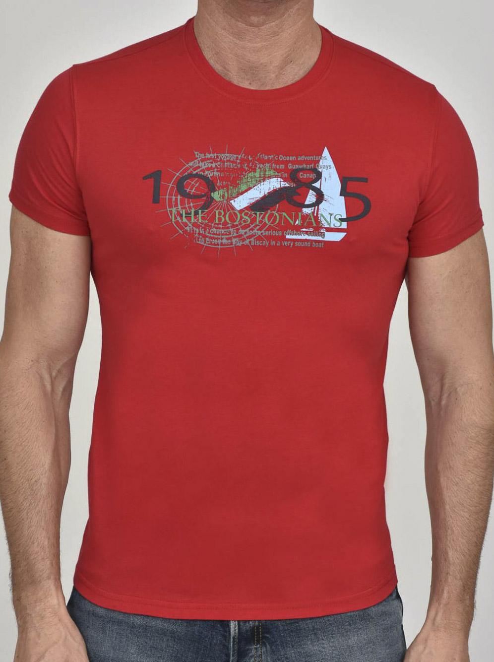 THE BOSTONIANS Μπλούζα T-Shirt 3TS00100-B00240 ΚΟΚΚΙΝΟ