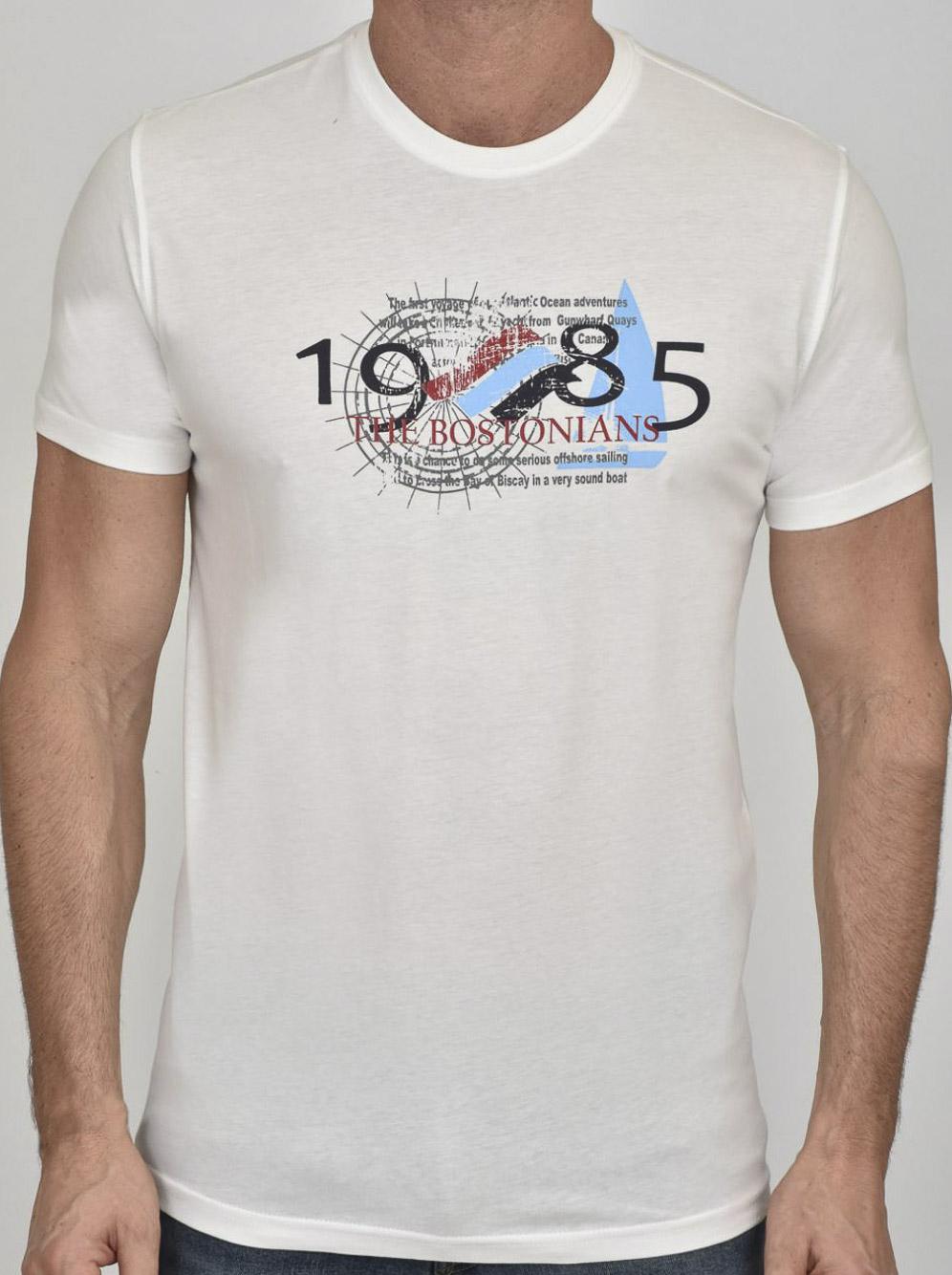THE BOSTONIANS Μπλούζα T-Shirt 3TS00100-B00001 ΕΚΡΟΥ