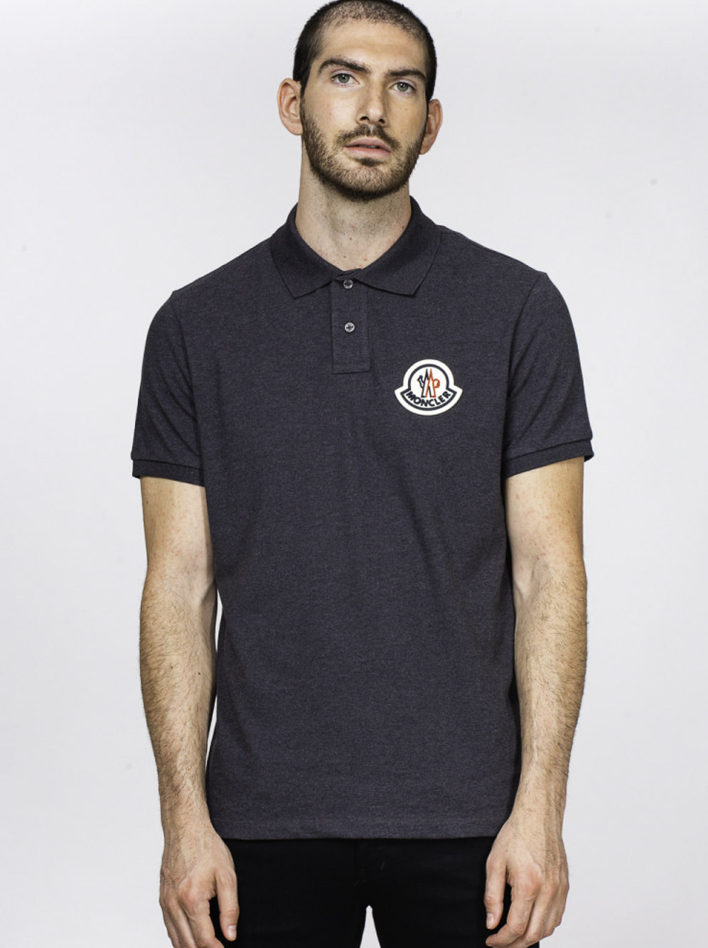 MONCLER Μπλούζα Polo F2918A7110084556-988 ΓΚΡΙ