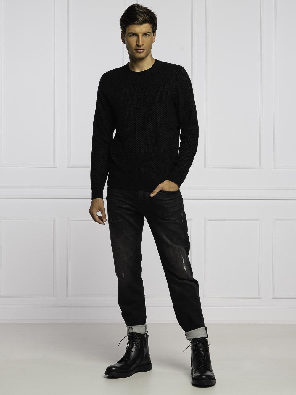 BOSS Μπλούζα πουλόβερ 50434352-001 ΜΑΥΡΟ